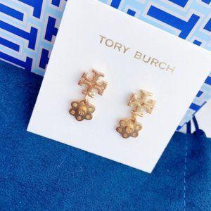 Tory Burch Vintage Matte Flower Elegant Earrings